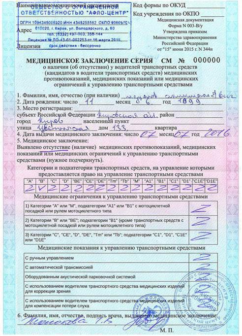 Водительская мед справка Москва Ховрино юао