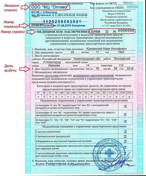 Водительские мед справки в Москве Мещанский с доставкой